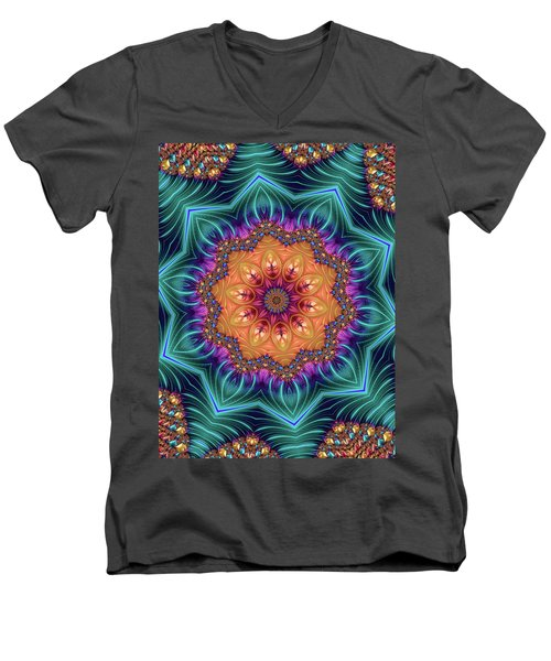 Men's V-Neck T-Shirt featuring the digital art Abstract Kaleidoscope Art With Wonderful Colors by Matthias Hauser