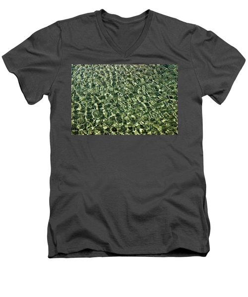 Men's V-Neck T-Shirt featuring the photograph Abstract Lake Reflections by LeeAnn McLaneGoetz McLaneGoetzStudioLLCcom