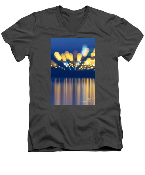 Abstract Light Texture With Mirroring Effect Men's V-Neck T-Shirt