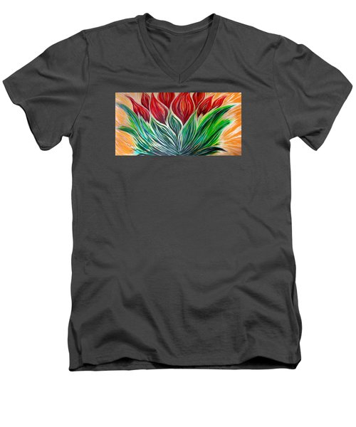 Abstract Lotus Men's V-Neck T-Shirt
