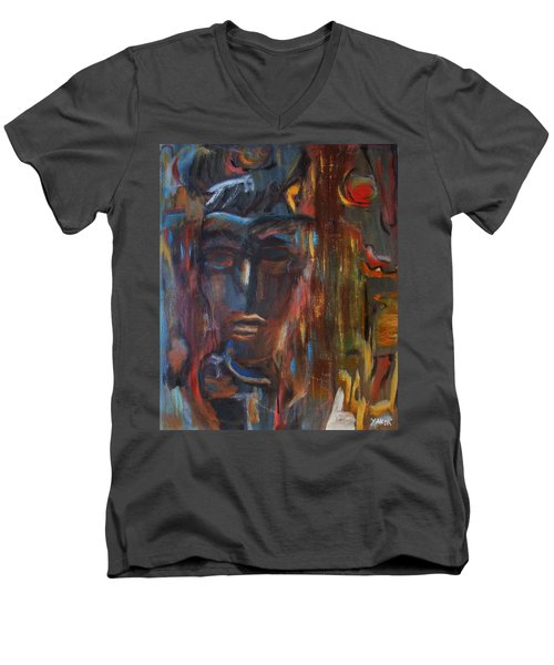 Abstract Man Men's V-Neck T-Shirt
