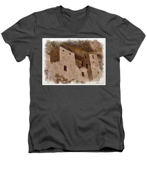 Men's V-Neck T-Shirt featuring the photograph Abstract Mesa Verde by Debby Pueschel
