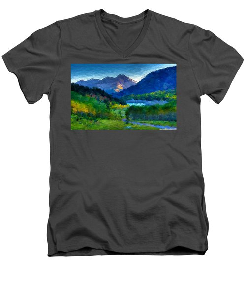 Abstract Mountain Vista  Men's V-Neck T-Shirt by Anthony Fishburne