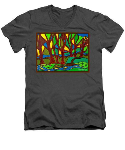 Abstract Of The Otter Pool Men's V-Neck T-Shirt