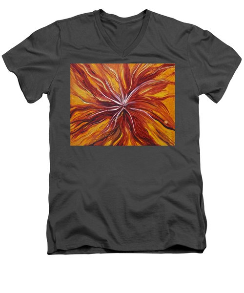Abstract Orange Flower Men's V-Neck T-Shirt