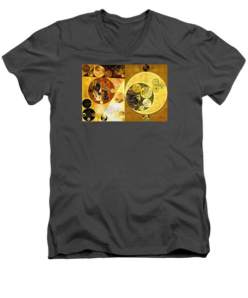 Men's V-Neck T-Shirt featuring the digital art Abstract Painting - Golden Brown by Vitaliy Gladkiy