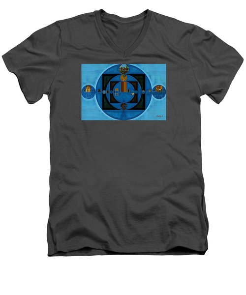 Abstract Painting - Yale Blue Men's V-Neck T-Shirt