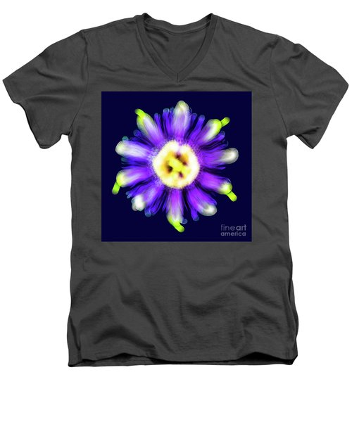 Abstract Passion Flower In Violet Blue And Green 002b Men's V-Neck T-Shirt