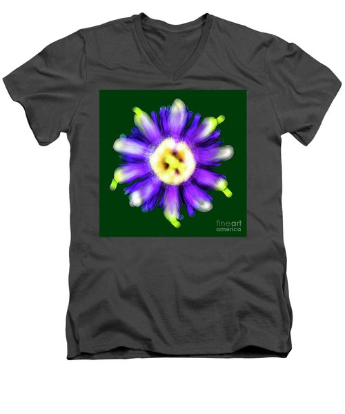 Abstract Passion Flower In Violet Blue And Green 002g Men's V-Neck T-Shirt