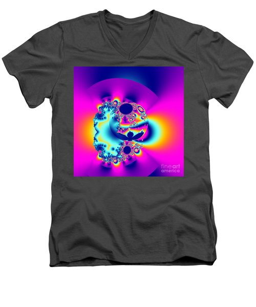 Abstract Pink And Turquoise Fractal Globe Men's V-Neck T-Shirt