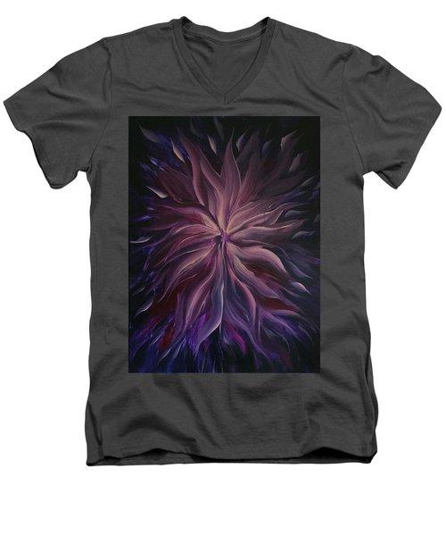 Abstract Purple Flower Men's V-Neck T-Shirt