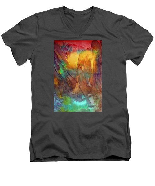 Men's V-Neck T-Shirt featuring the painting Abstract Reflection by Allison Ashton