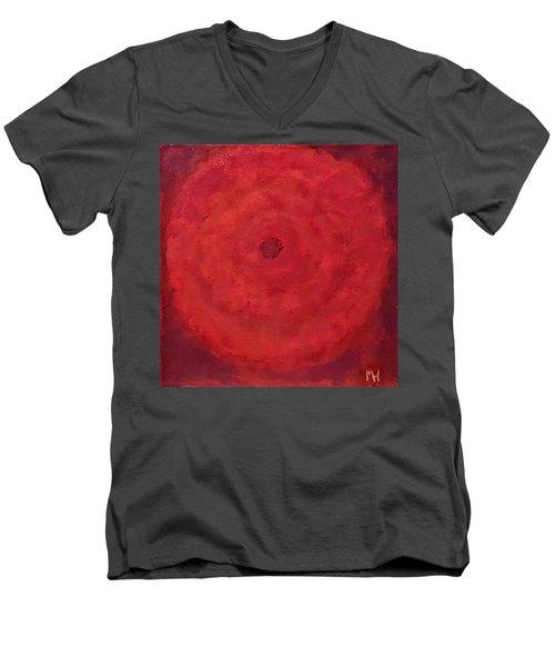 Abstract Rose Men's V-Neck T-Shirt by Margaret Harmon