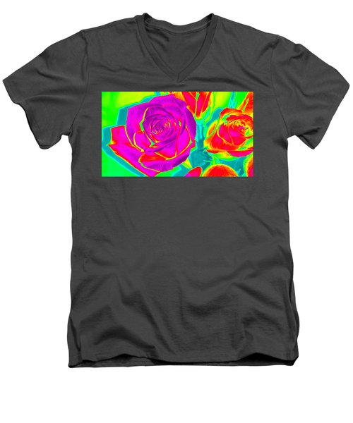 Blooming Roses Abstract Men's V-Neck T-Shirt