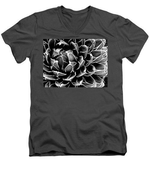 Men's V-Neck T-Shirt featuring the photograph Abstract Succulent by Ranjini Kandasamy