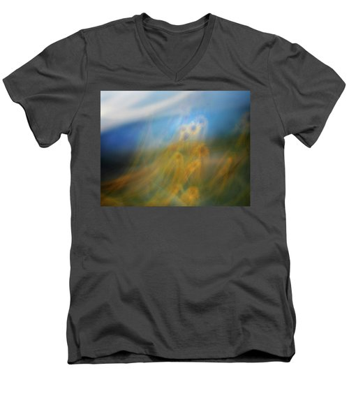 Men's V-Neck T-Shirt featuring the photograph Abstract Sunflowers by Marilyn Hunt