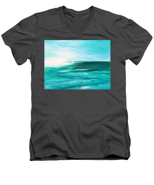 Abstract Sunset In Blue And Green 2 Men's V-Neck T-Shirt
