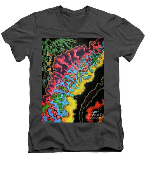 Men's V-Neck T-Shirt featuring the painting Abstract Thought by Jolanta Anna Karolska