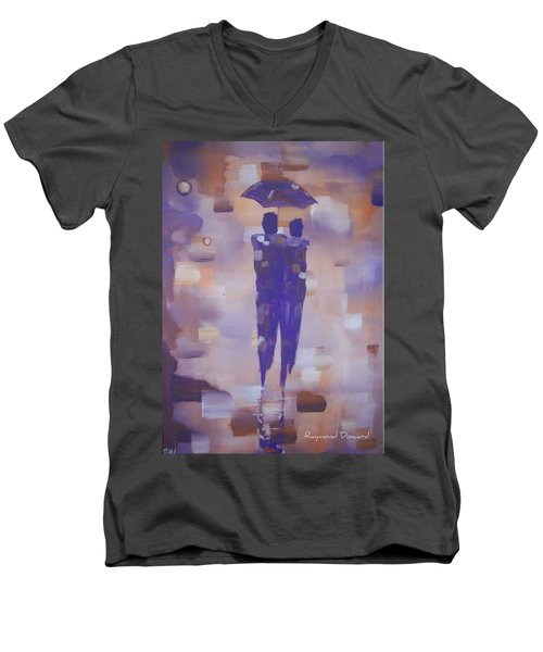 Abstract Walk In The Rain Men's V-Neck T-Shirt by Raymond Doward