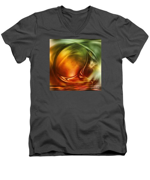 Men's V-Neck T-Shirt featuring the digital art Abstract Whiskey by Johnny Hildingsson