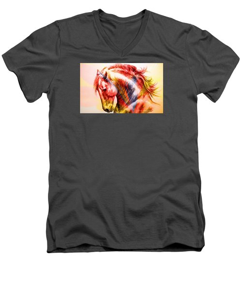 Men's V-Neck T-Shirt featuring the painting Abstract White Horse 46 by J- J- Espinoza