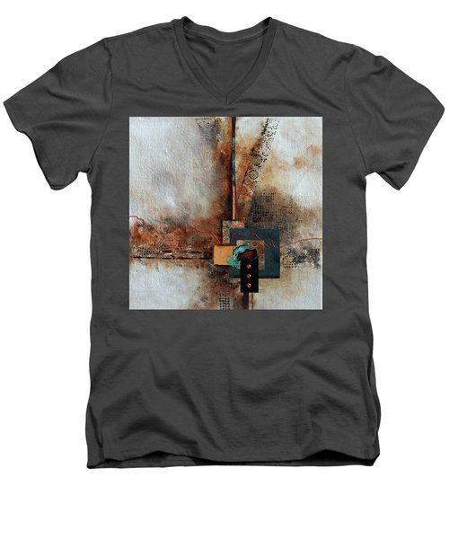 Men's V-Neck T-Shirt featuring the painting Abstract With Stud Edge by Joanne Smoley