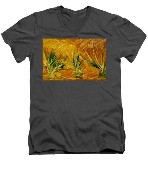 Abstract Yellow, Green Fields   Men's V-Neck T-Shirt