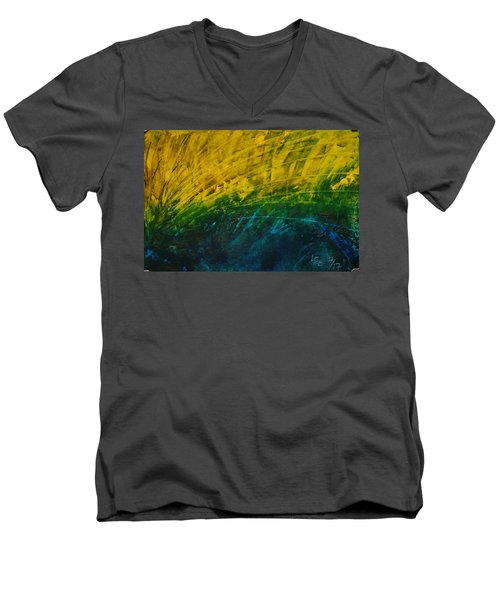 Abstract Yellow, Green With Dark Blue.   Men's V-Neck T-Shirt