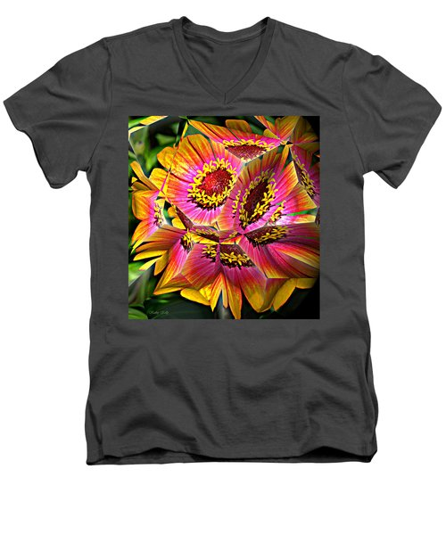 Abstract Yellow Flame Zinnia Men's V-Neck T-Shirt by Kathy Kelly