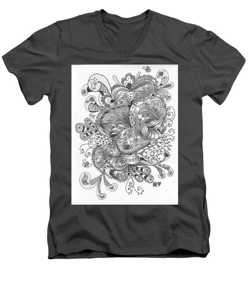 Abstract2 Men's V-Neck T-Shirt by Quwatha Valentine