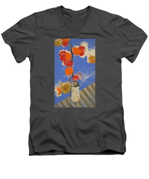 Abstracted Flowers In Ceramic Vase  Men's V-Neck T-Shirt