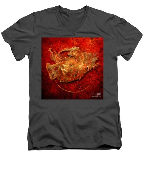 Men's V-Neck T-Shirt featuring the digital art Abstractfantasy No. 1 by Alexa Szlavics
