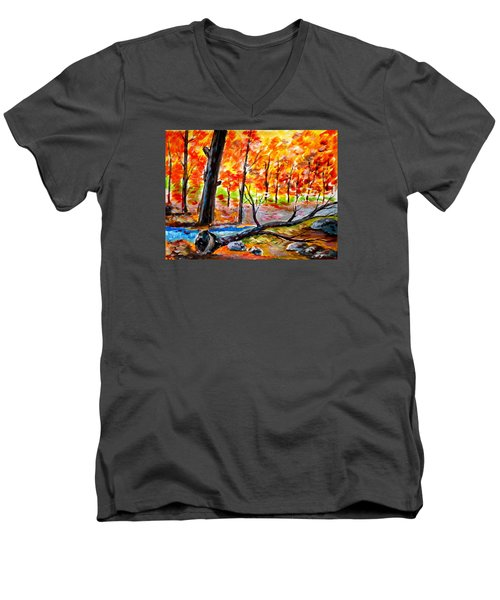 Fire In The Forest Men's V-Neck T-Shirt