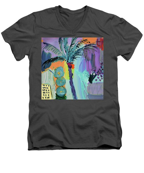 Abtract, Landscape With Palm Tree In California Men's V-Neck T-Shirt