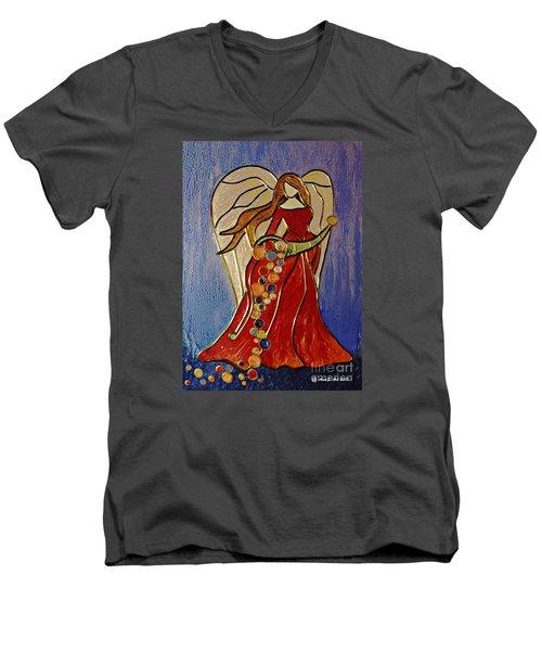 Abundance Angel Men's V-Neck T-Shirt by AmaS Art