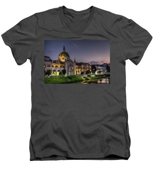 Academy Of Fine Arts, Sarajevo, Bosnia And Herzegovina At The Night Time Men's V-Neck T-Shirt by Elenarts - Elena Duvernay photo