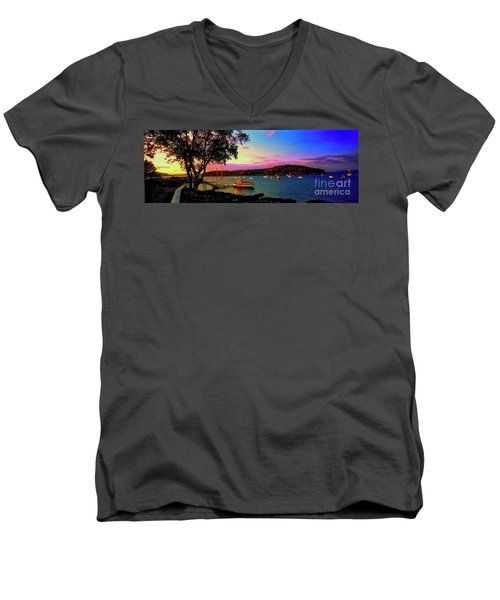 Acadia Bar Harbor Sunset Cruises.tif Men's V-Neck T-Shirt