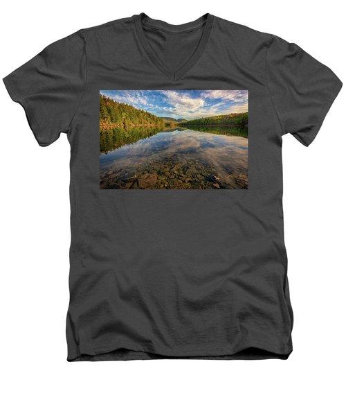 Acadian Reflection Men's V-Neck T-Shirt by Rick Berk