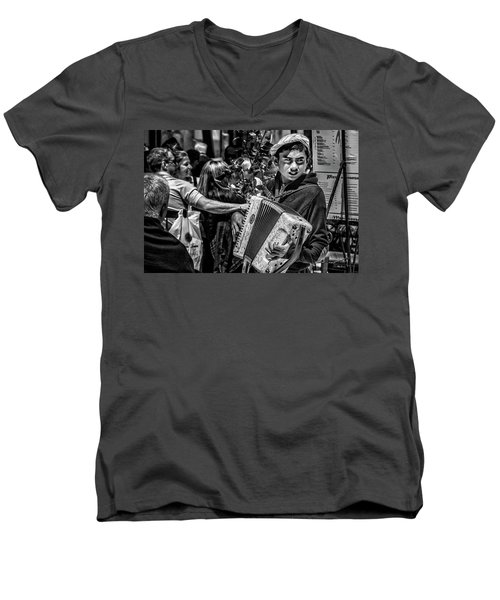Accordion Player Men's V-Neck T-Shirt by Patrick Boening