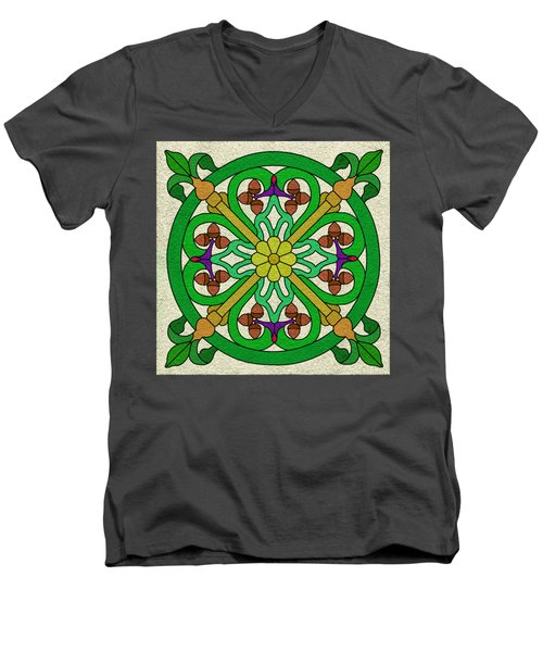 Acorn On Cream/purple Men's V-Neck T-Shirt by Curtis Koontz
