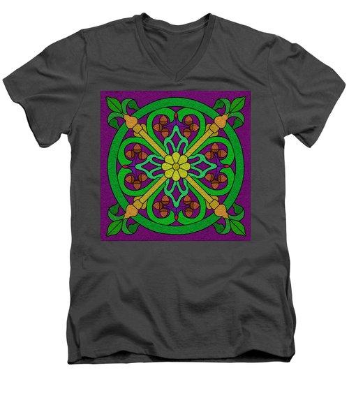 Acorn On Dark Purple Men's V-Neck T-Shirt by Curtis Koontz
