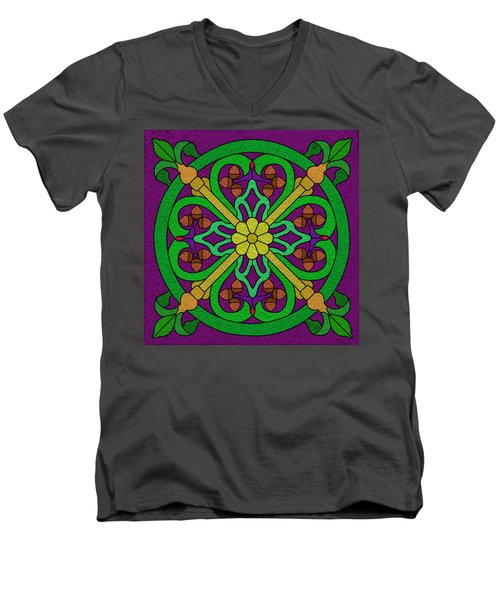 Acorn On Dark Purple Men's V-Neck T-Shirt