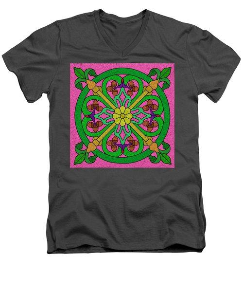 Acorns On Pink Men's V-Neck T-Shirt by Curtis Koontz