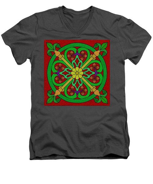 Acorns On Red 2 Men's V-Neck T-Shirt by Curtis Koontz