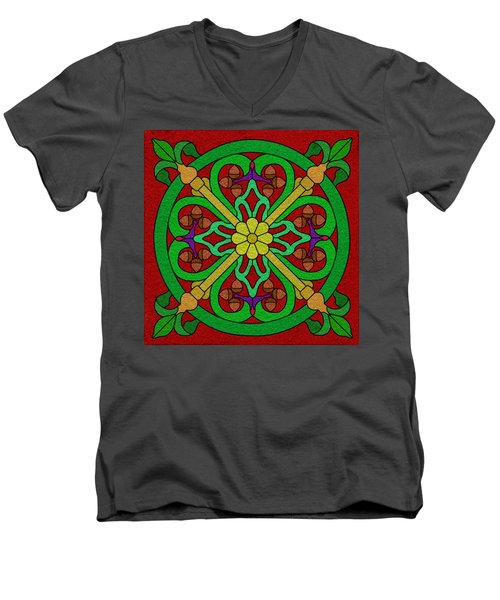 Acorns On Red Men's V-Neck T-Shirt by Curtis Koontz