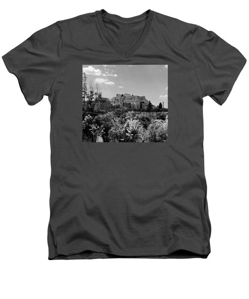 Men's V-Neck T-Shirt featuring the photograph Acropolis Black And White by Robert Moss