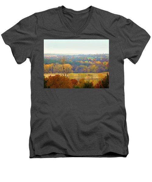 Across The River In Autumn Men's V-Neck T-Shirt