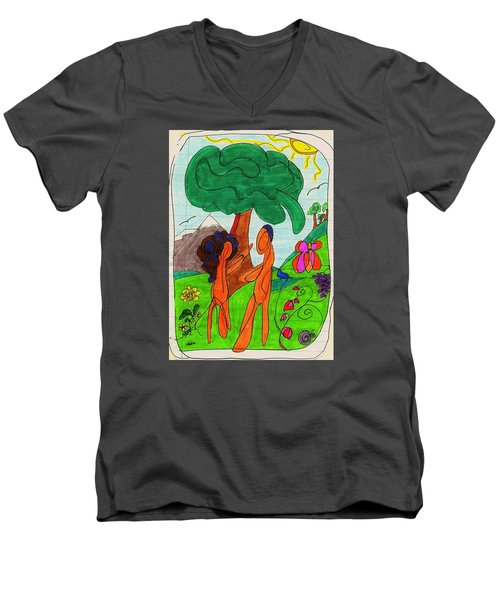 Adam And Eve Men's V-Neck T-Shirt by Martin Cline