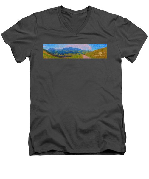 Adelboden Panoramic Men's V-Neck T-Shirt