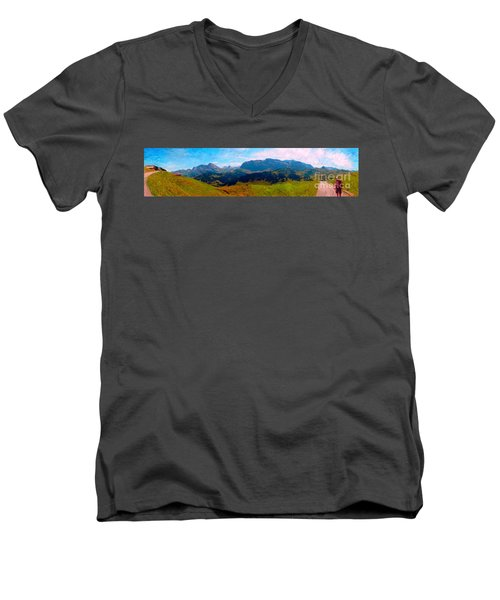Adelboden With Hiker Men's V-Neck T-Shirt